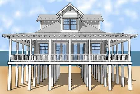 Island cottage piling foundation front entrance garage for Florida cracker house plans wrap around porch