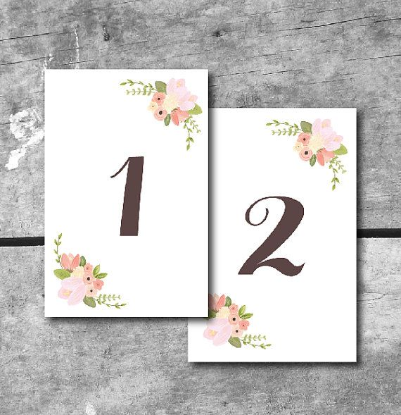 graphic relating to Free Printable Wedding Place Cards known as Quick Down load Rustic Floral Desk Quantities - PRINTABLE