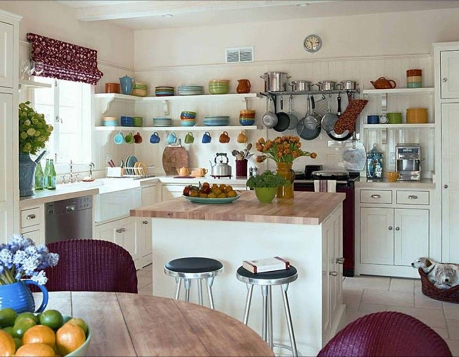 Smart And Fabulous Colorful Kitchen Ideas With White Kitchen Cabinet And  Floating White Shelving With Plates