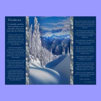 Desiderata Snow Top Mountains Posters | Zazzle.com #fondecranhiver