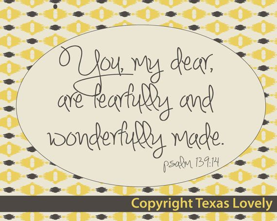 Scripture Art Fearfully & Wonderfully Made 8x10 by TexasLovely