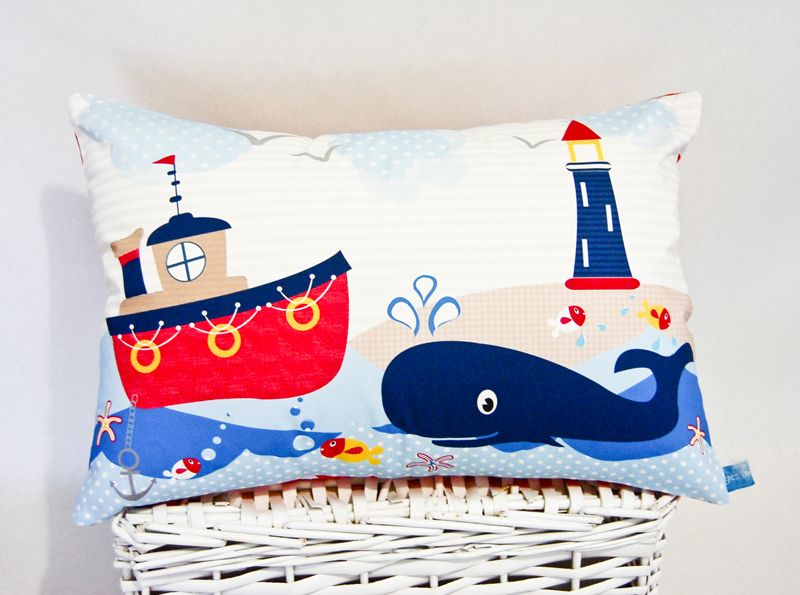 A bright modern take on a nautical theme. Loving the tradition red, navy white with pops of yellow & soft charcoal.