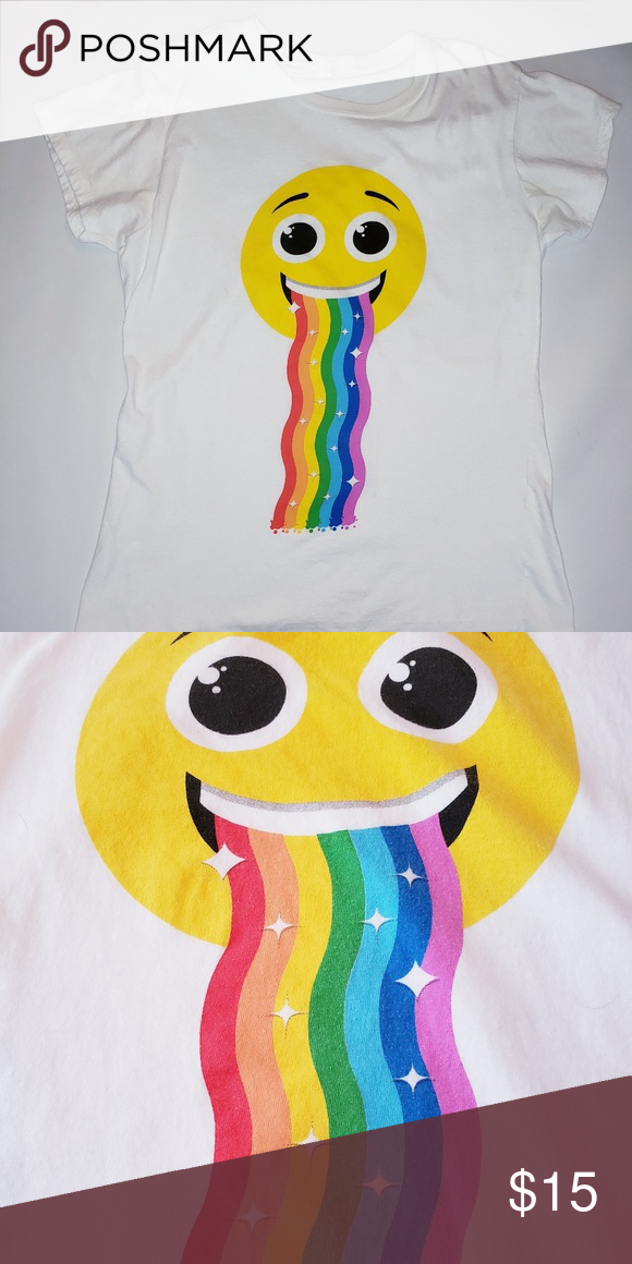 Rainbow Vomiting Emoji Tee Size M Meme Pukebow Behold The Amazing Wonders Of The Internet In This Glorious Colorful Backgrounds Rainbow Vomit Novelty Tees