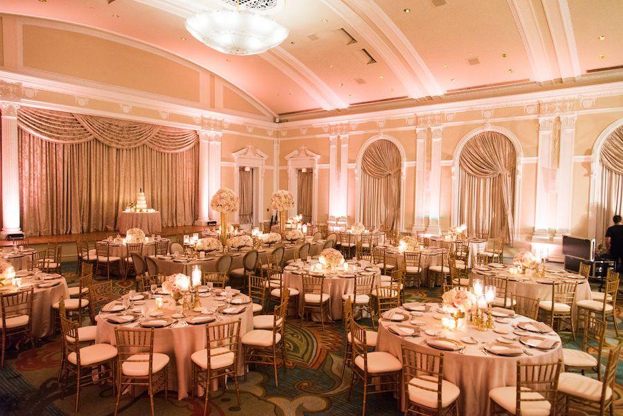 Ivory And Gold Ballroom Wedding Reception