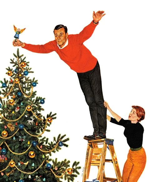Topping the Tree, illustration by John Falter