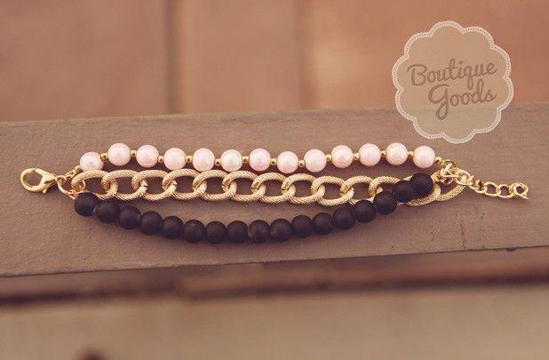 GroopDealz | Penelope's Black and Pastel Bracelet