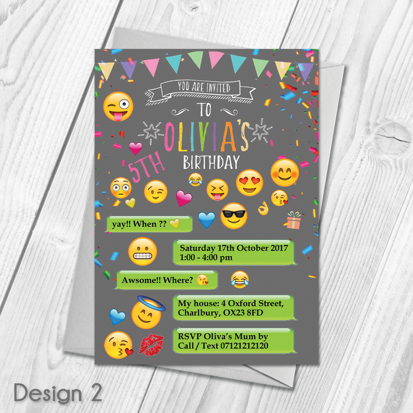Emoji Personalised Party Invitations With Envelopes