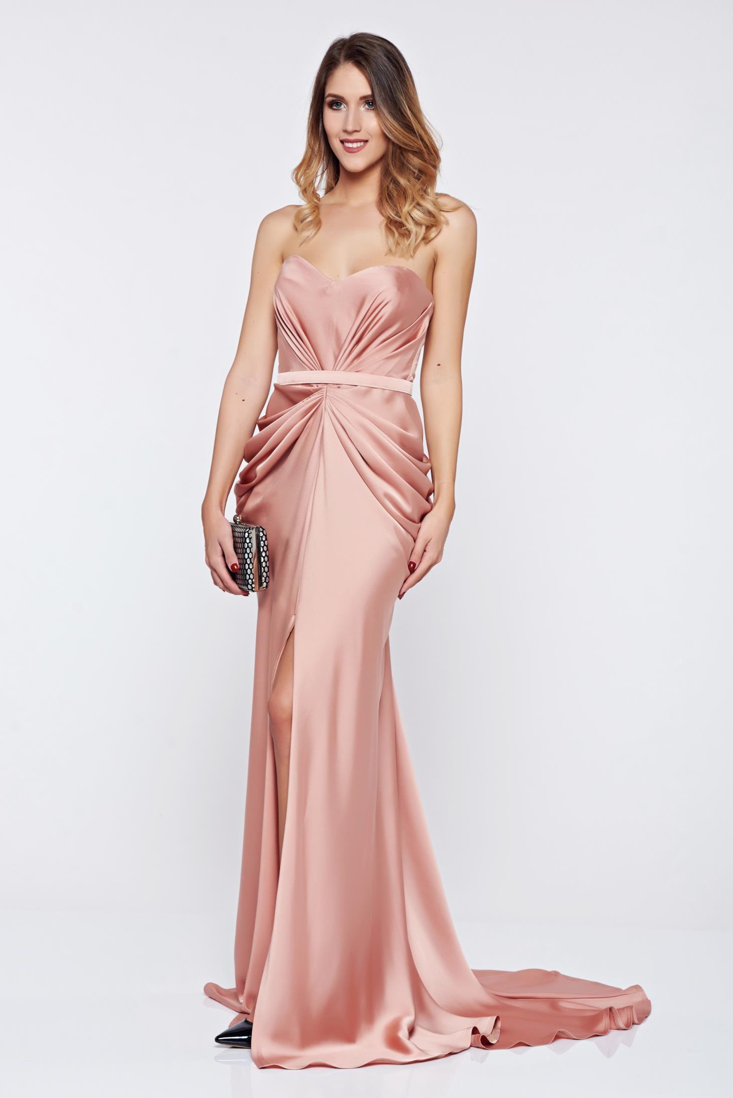 Ana Radu asymmetrical peach dress push-up bra wrinkled fabric, back ...