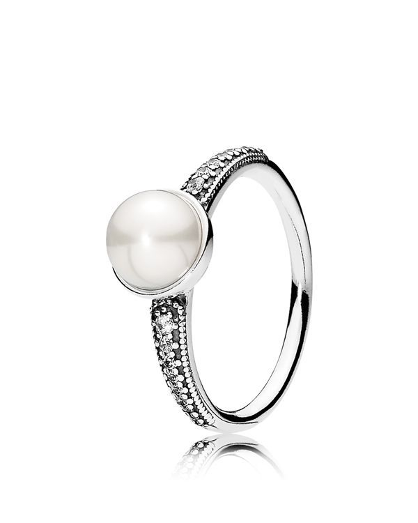 3b1ed8a55 Pandora Ring - Sterling Silver, Cubic Zirconia & Cultured Freshwater Pearl  Elegant Beauty
