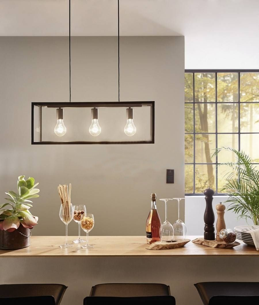 Three Bare Bulb Pendant With Steel Box Frame Hanging Lamp Design Clear Glass Pendant Light Eglo