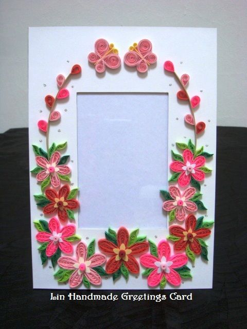 Lin handmade greetings card paper photo frames with quilled lin handmade greetings card paper photo frames with quilled flowers sciox Image collections