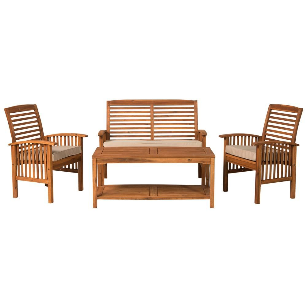 Walker Edison Furniture Company 4-Piece Outdoor Acacia Wood Light Brown Chat Set with White Cushions