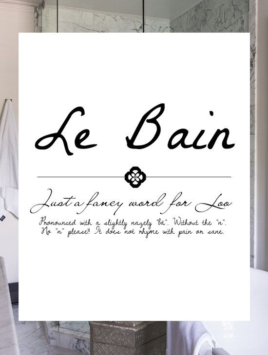 French Bathroom Print Le Bain Funny Minimalist Black White Typography Wall Sign Inspiration For Him Her By Indigorain On Etsy