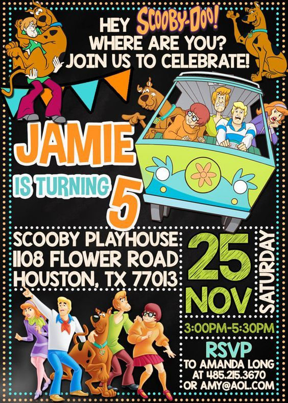 Scooby Doo Invitation Scooby Doo Chalkboard Birthday Party Invite