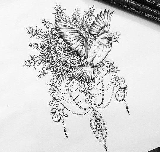 exemple dessin tatouage oiseau qui s envole avec mandala et arabesques pinterest. Black Bedroom Furniture Sets. Home Design Ideas