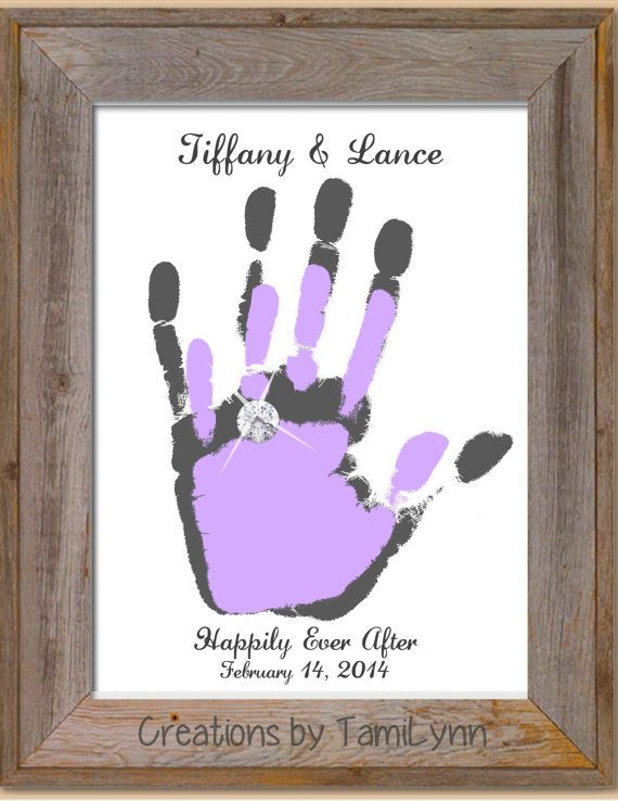 Just Married Or Anniversary Handprint By Creationsbytamilynn 20 00 Handprint Artwork Handprint Painting Couple Crafts