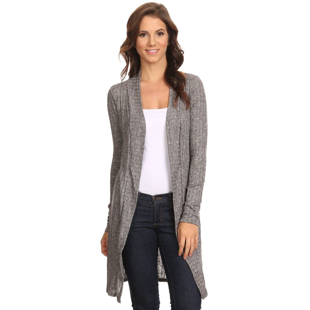 d9275d9271f Women's Ribbed Open Front Long Sleeve Cardigan Small to 3XL Made in ...