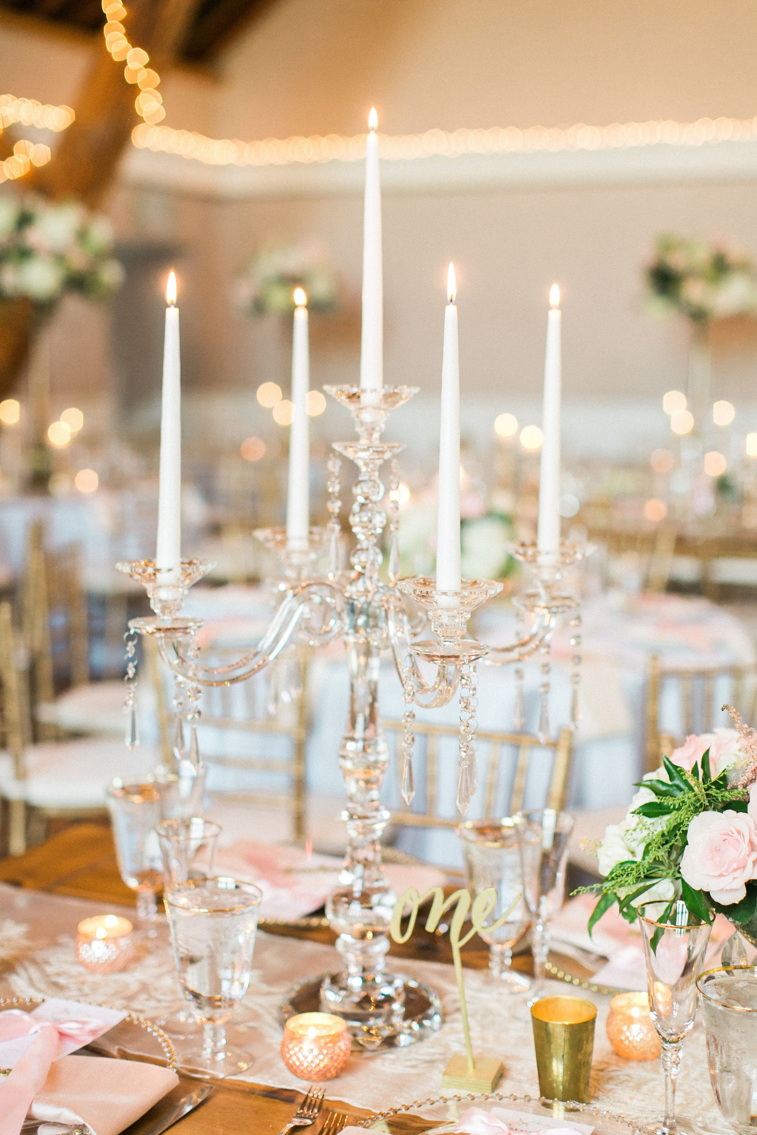Lucite Candelabra Centerpiece with Taper Candles   Wedding ...