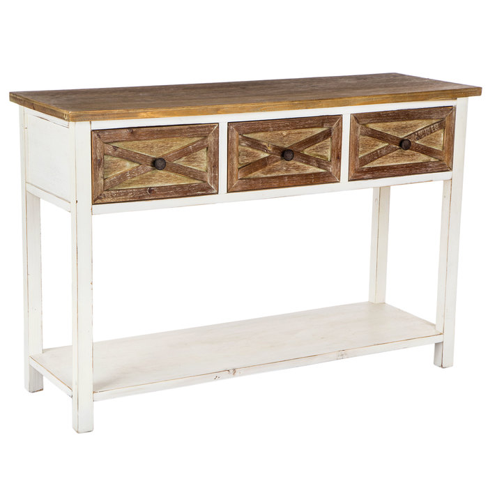 Sofa Table with Barn Door Drawers Sofa table, Rustic
