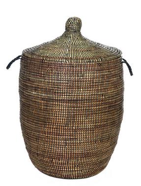 Black Fair Trade African Basket Hamper Laundry Hamper Basket