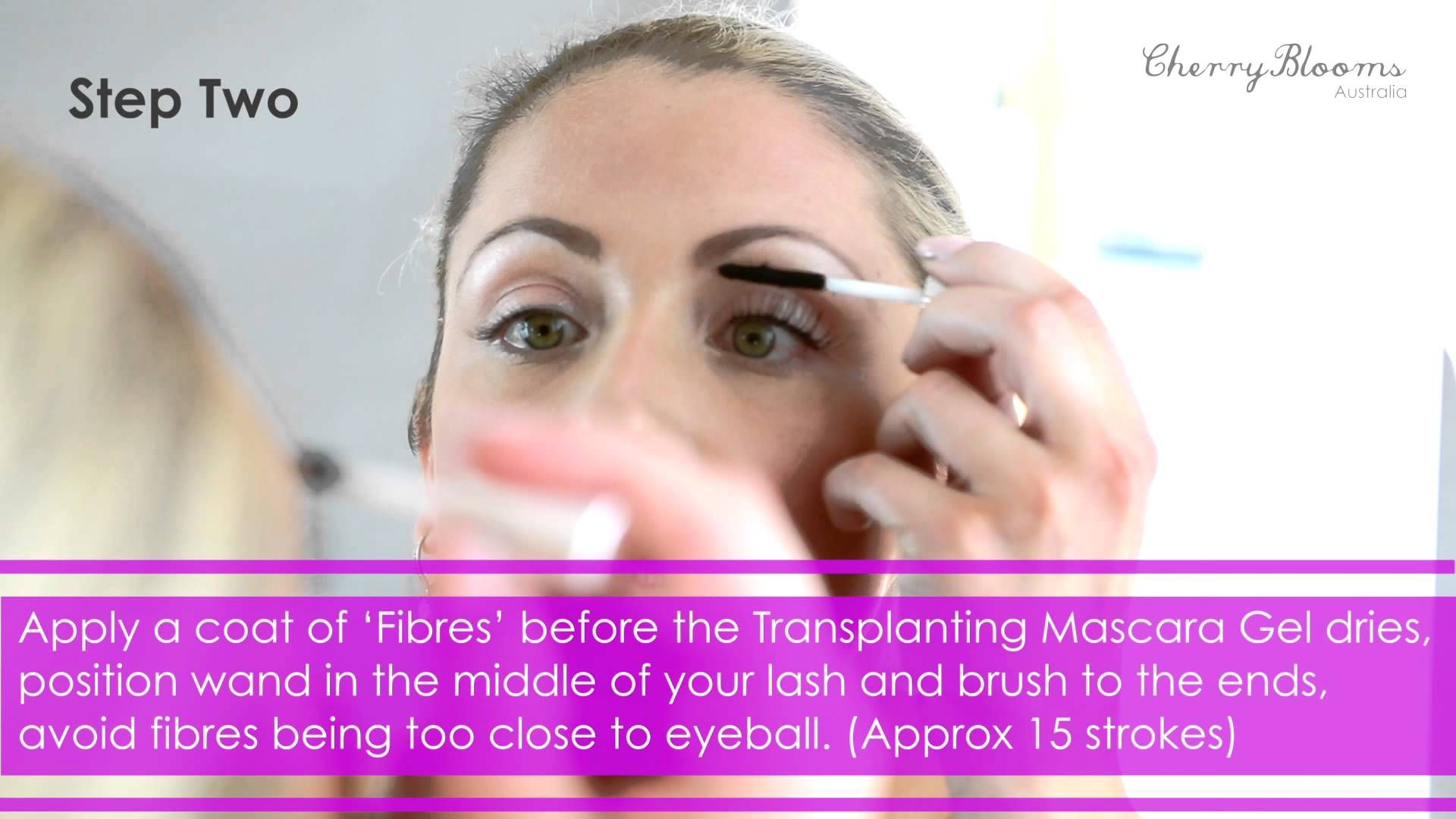 Cherry blooms brush on fiber eyelash extensions tutorial