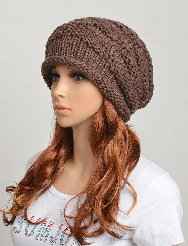 Wool handmade knitted crochet hat woman clothing - brown | :::X:Must ...