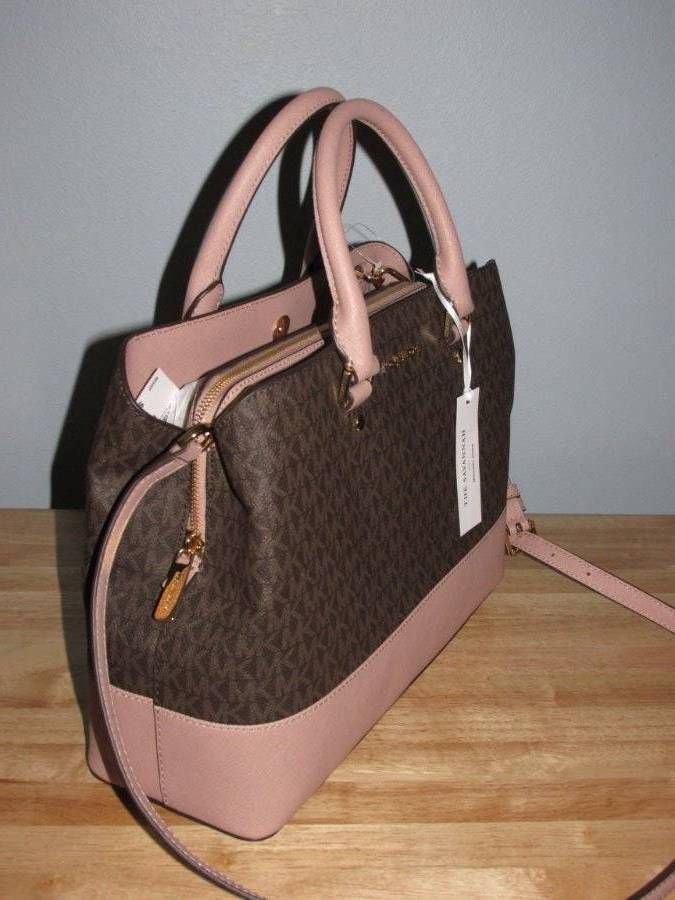 98422669a592 Michael Kors Savannah Large MK Signature Leather Satchel Handbag Brown Fawn  Gold $179.99