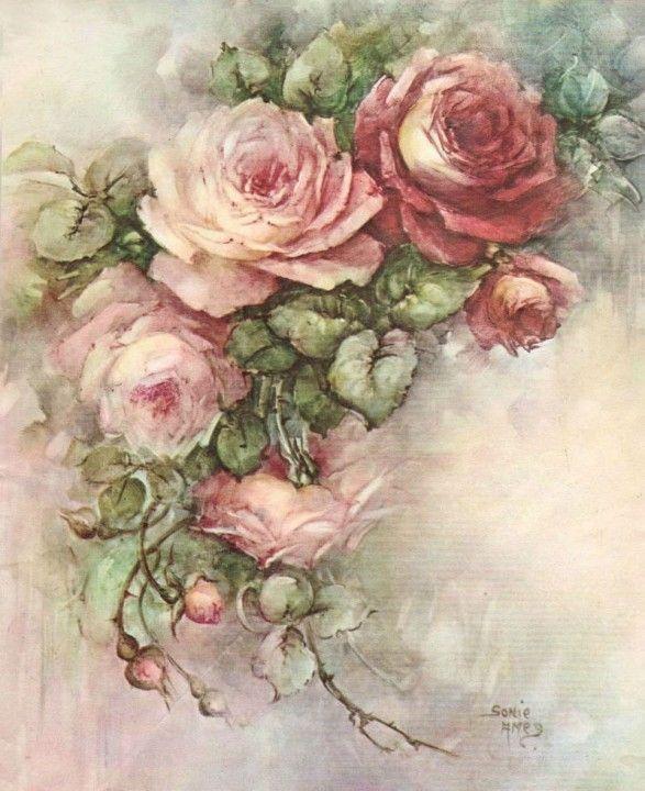 Rose Vintage Rose Flower Painting Vintage Roses Rose Art