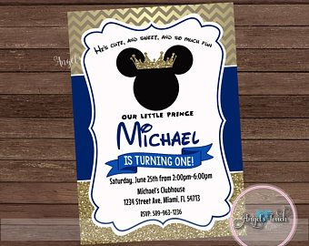 Mickey Mouse Party Invitation Mickey Mouse Prince Royal
