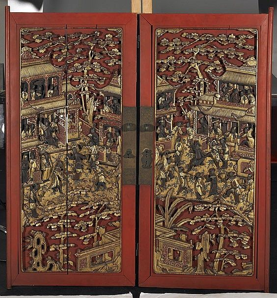 CHINESE ANTIQUE DOORS | Chinese Antique Lacquered Wood Doors Pair antique Chinese carved . & CHINESE ANTIQUE DOORS | Chinese Antique Lacquered Wood Doors Pair ...