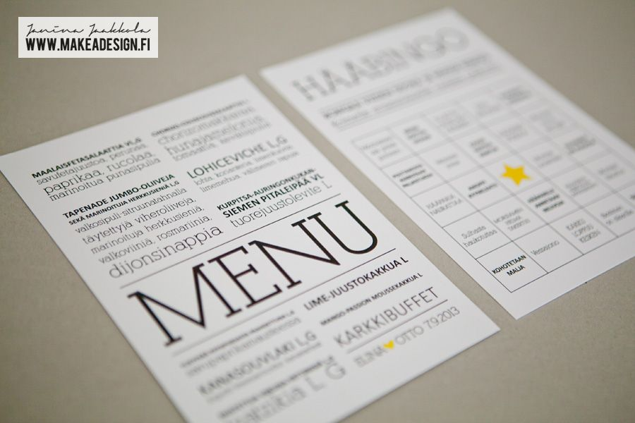 Wedding menu / wedding bingo card