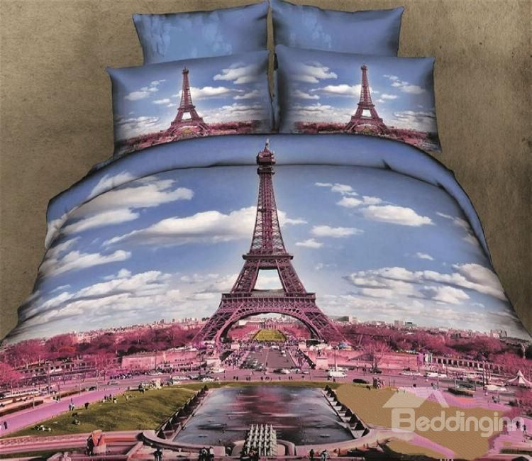 New Arrival 100 Cotton Skin Care Eiffel Tower 3d Print 4 Piece