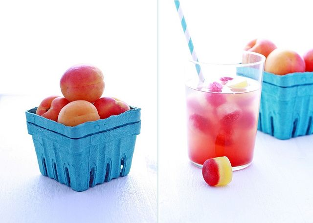 Summer water with fruit ice cubes