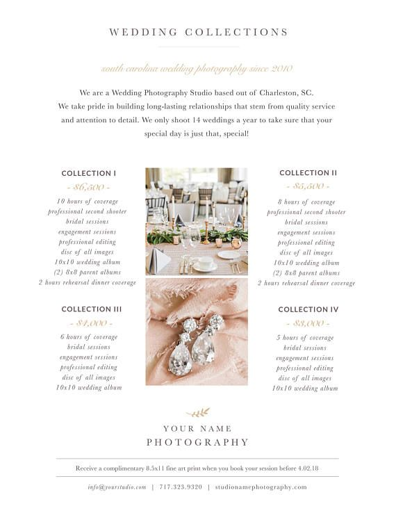 Photography Price List Template, Photography Pricing Guide, Wedding