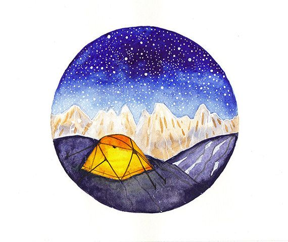 Original Illustration Watercolor Painting Art Camping On Mountains