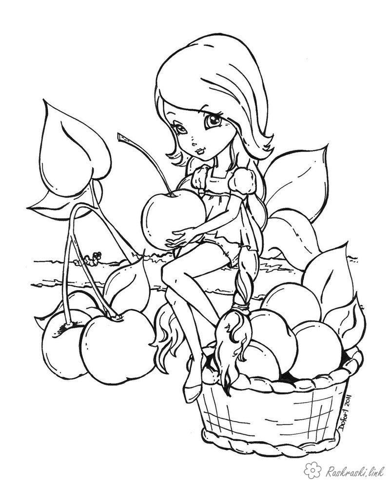 Раскраски Раскрась девочку фея, девочка, яблоки ...