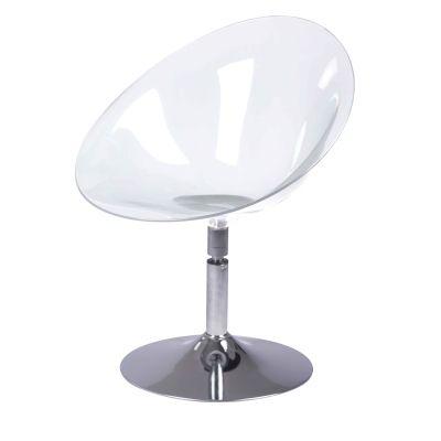 Miles Mid Century PC Swivel Chair Chromed Steel Base, Transparent Crystal