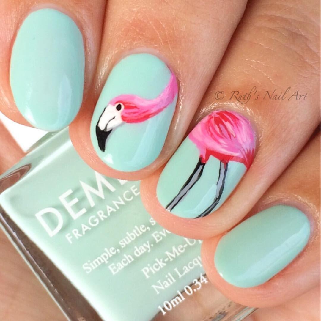 Flamingo Nails #ruthsnailart #nailart | Unhas!!!! | Pinterest ...