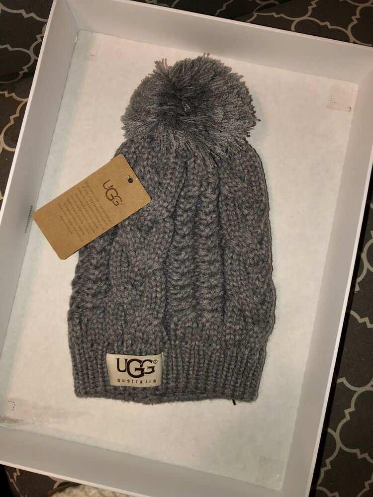 NWT WOMEN S UGG CABLE KNIT POM POM BEANIE HAT ONE SIZE  fashion  clothing   shoes  accessories  womensaccessories  hats (ebay link) 6080df3a0