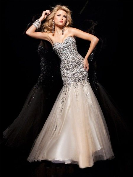 Mermaid/ Trumpet Sweetheart Long Silver Sequins Champagne Tulle ...