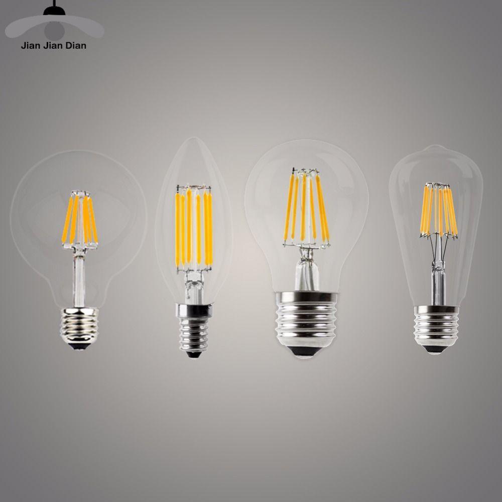 Led Candle Bulb E14 Vintage C35 Filament Light Bulb E27 Led Edison Globe Lamp 220v A60 Glass 2w 4w 6w 8w Dimmab Filament Bulb Lighting Globe Lamps Candle Bulbs