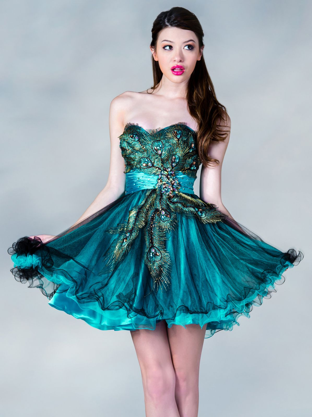 Cocktail Dresses, Peacock Feathers, Mesh Skirt, Jeweled from Sung ...