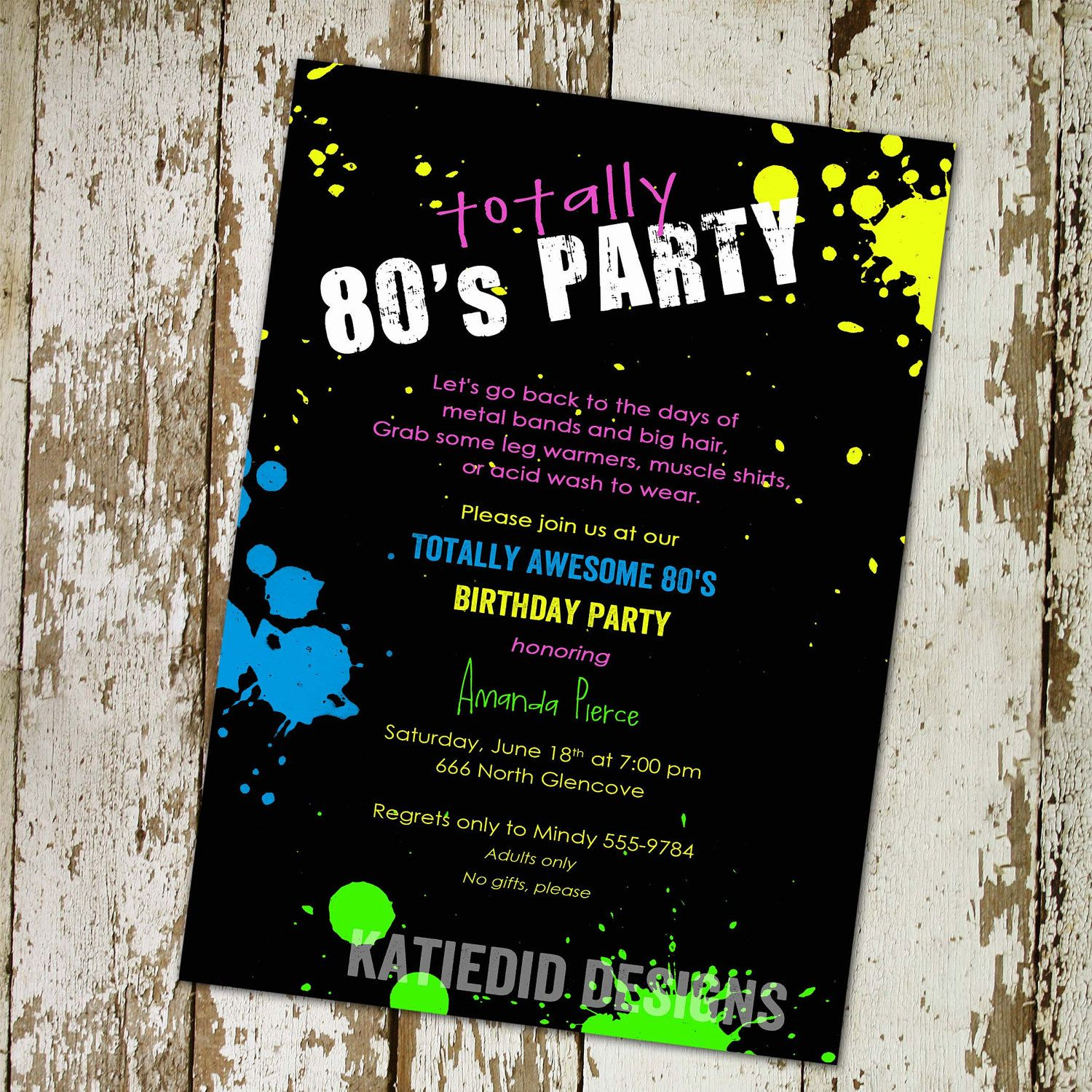 80s themed birthday party invitations Totally 80s party digital – 80s Theme Party Invitations