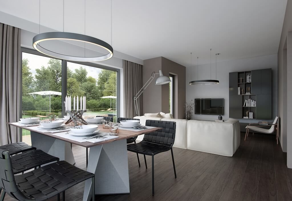 Wohnzimmer Ideen grau mit Esstisch - Interior Design Haus - wohnzimmer ideen grau