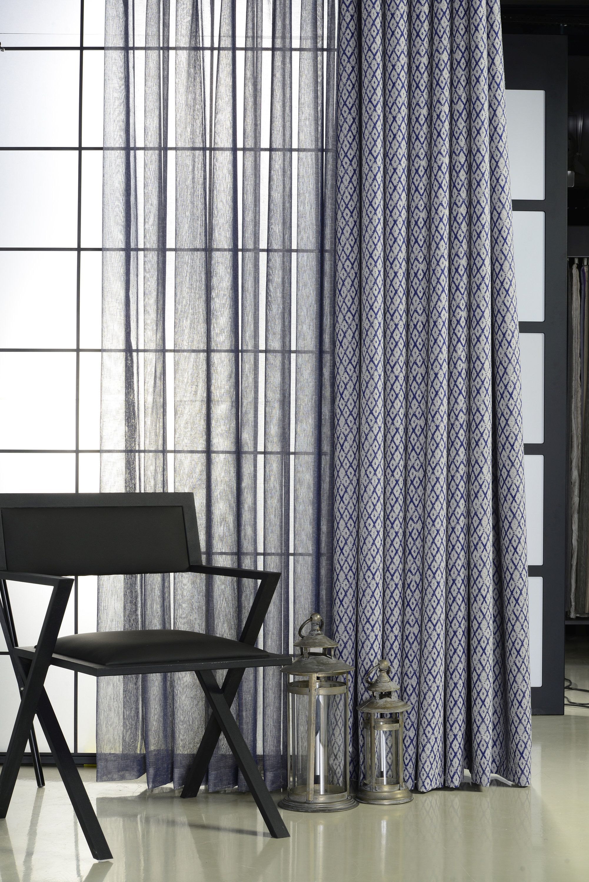 Geometric Pattern Curtain Custom Size Dual Layered Design