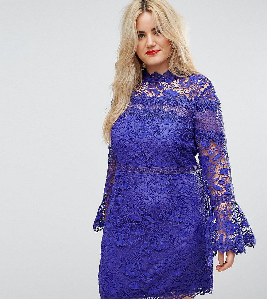 f1049a92ecec CURVE Lace Long Sleeve Mini Dress With Fluted Sleeves | Products ...