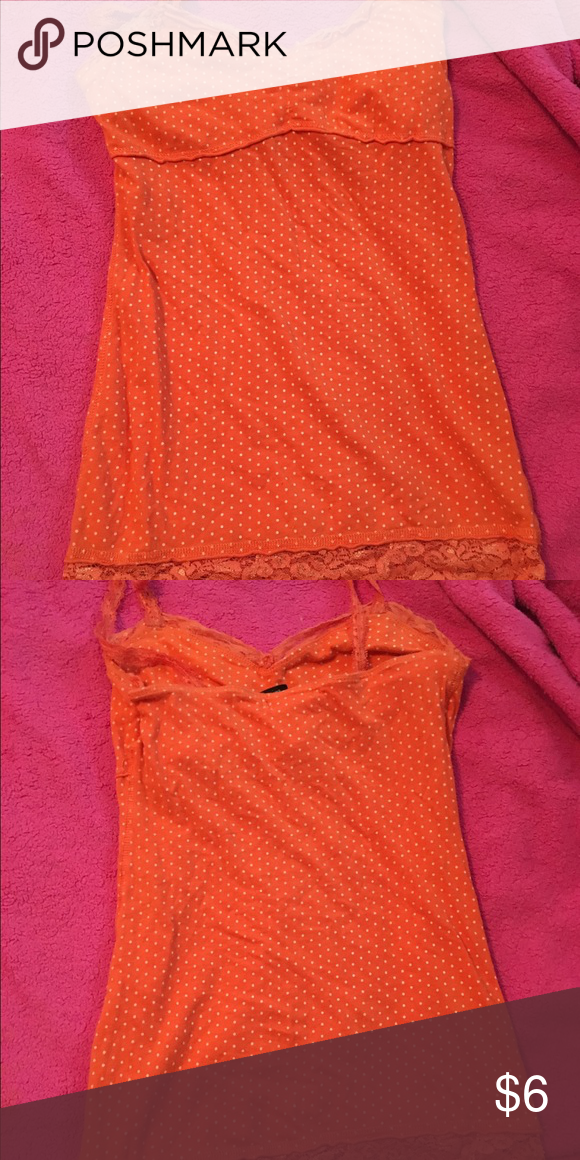 Lace orange tank top Orange and white polka dots Lacey tank top Tops