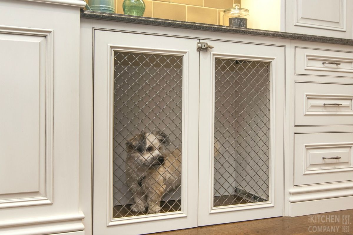 Custom Built In Dog Crate Cabinetry