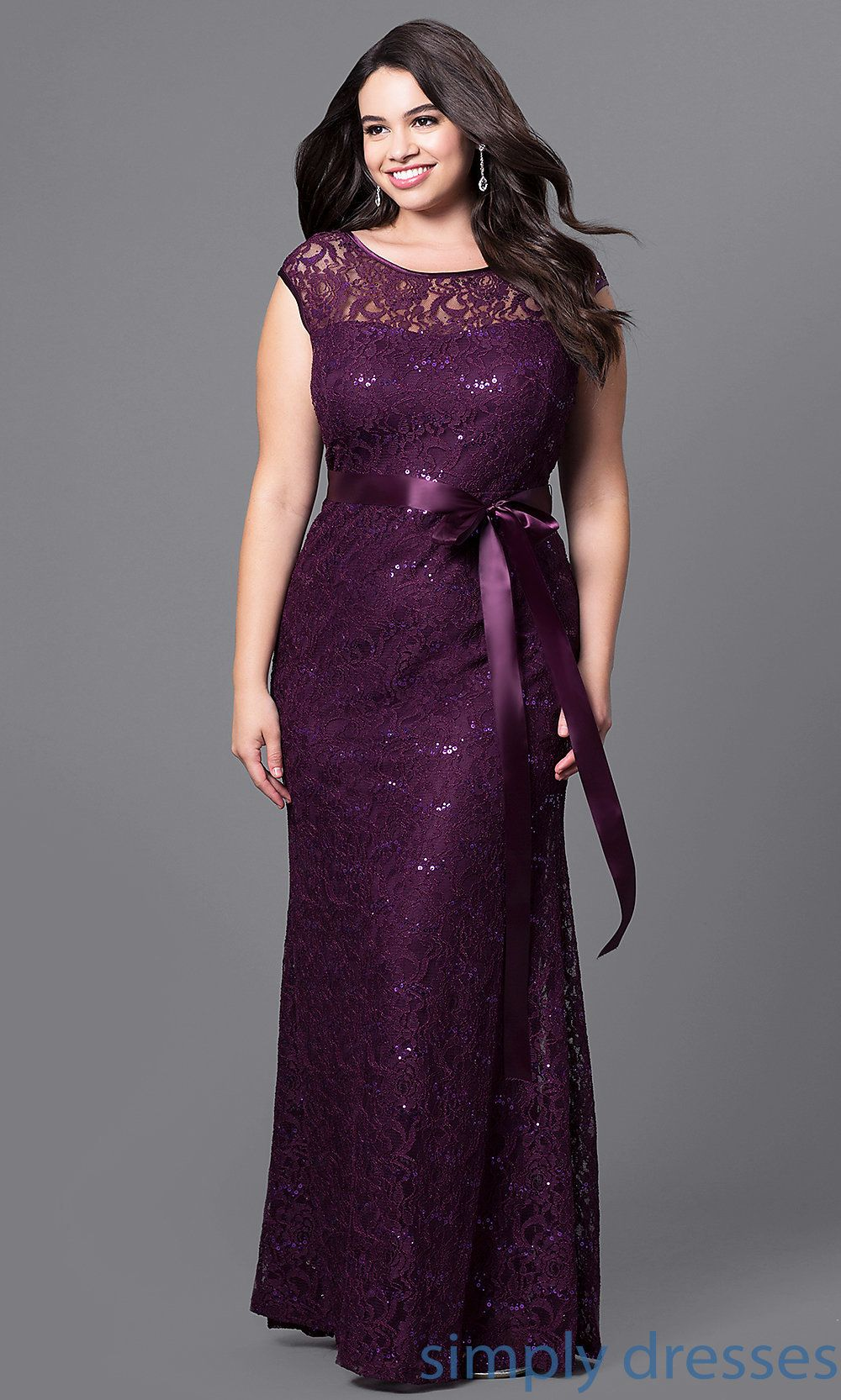 Plus-Size Long Formal Dress with Sequined Lace | Gowns, evening ...