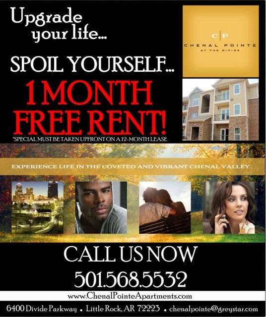 Free Rent Apartments: Flyer I Made For One Month Free Rent. Chenal Valley In